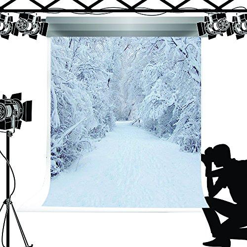 Kate weiß Foto Hintergrund Snow Winter Hintergrund Forest Road Fotograf Requisiten für Studio Fotografie 5x 2,1