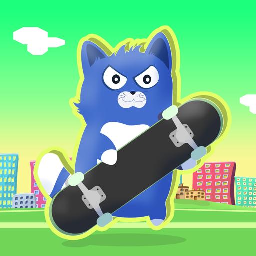 Little Kitty on a Skateboard : The Cat Skate Race Game Fun Simulator - Gold Edition -