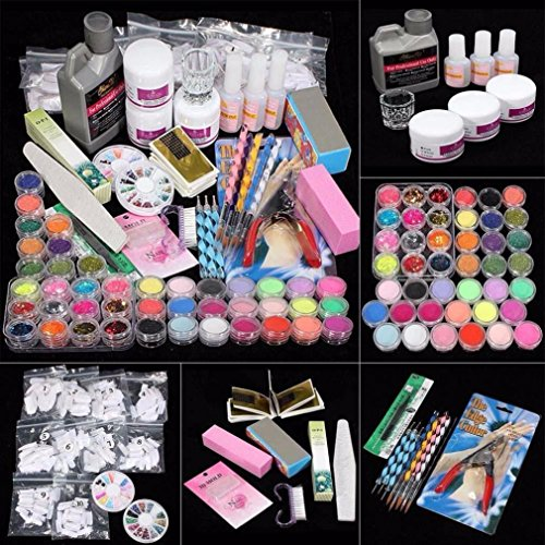 Hunpta 21 in 1 Profi Acryl Glitter Color Pulver French Nail Art Deco Tipps Set (Colorful)