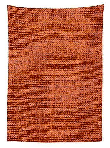 Yeuss Burnt Orange Decor Tischdecke Faded Jute Textur Print Makro Dick Stoff Graphic Matte artrpint, rechteckig, Tisch Esszimmer K¨¹Che, Orange 60