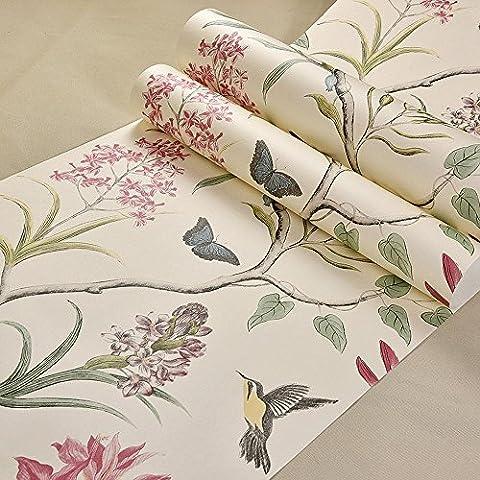 Retro Amerikanischer Stil Tapete 3D Stereoskopisch Ländlich Blumen und Vögel Schlafzimmer Wohnzimmer Fernseher Hintergrund Vliesstoffe Wandgemälde 0.53m x 10m , B