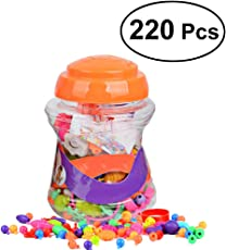 220 Pieces Snap Pop Beads Girl's Toy DIY Jewelry Kit Fashion Fun for Necklace Ring Bracelet Art Crafts Gift Toys for Kids Girls