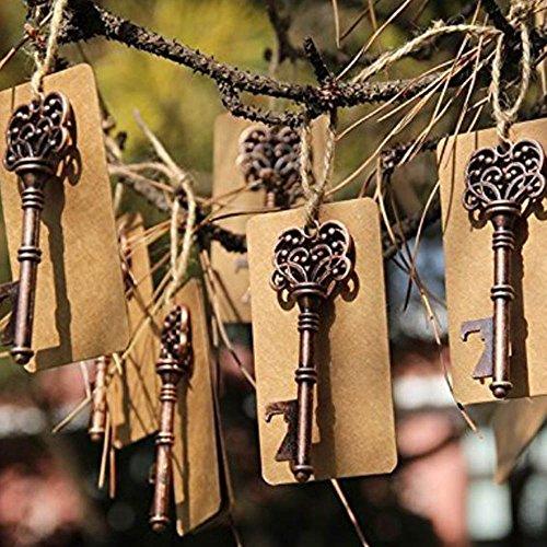 Recordatorios de boda, abrebotellas con forma de llave y etiqueta, ideales para decoración rústica de fiestas (50 unidades)