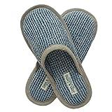 Linen & Cotton Pantofole Uomo/Donna TIGO - 100% Lino, (EUR 41-42), Blu