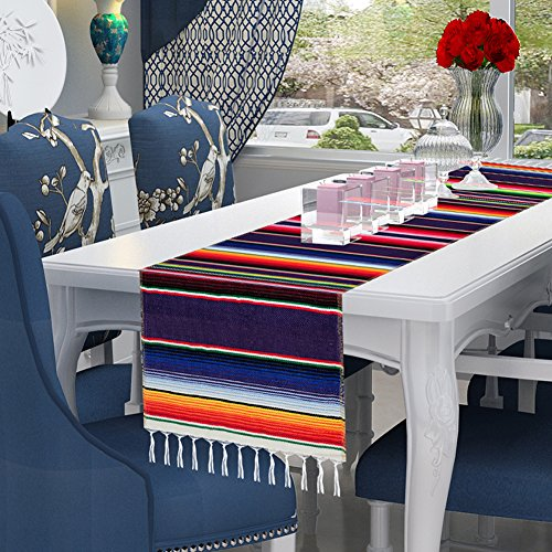 mexikanischer Serape Tischläufer für mexikanische Motto-Party, Fiesta Party, Geburtstag, Hochzeit, Dekorationen ()