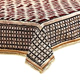 #9: FAB NATION Center Table Cover Maroon Gold Cotton Fabric In Beautiful Geometric Design 40*60 Inches