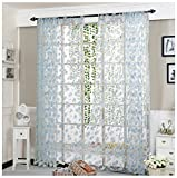 Rcool Flower Sheer Curtain Tulle Window Treatment Voile Drape Valance Panel Fabric Curtain Home Living Room Bedroom Window Decor Curtain (Blue)