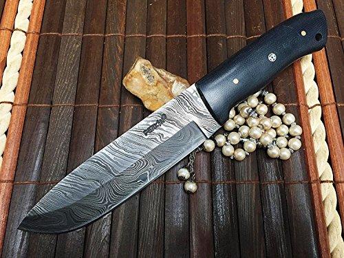 damas-couteau-de-chasse-en-acier-avec-gaine