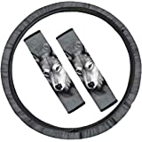 chaqlin 3 Piece Set Car Accessories Animal Grey Wolf Car Shoulder Strap Protector Cover Seatbelt Heavy Dust and Steering Whee