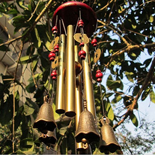 ROSENICE Windspiel, 4 Rohre 5 Glocken Klangspiel Windspiel - 6