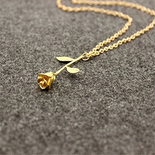 Repino Damen-Halskette mit Rosenanhänger, gold-, silber- und rotgoldfarben