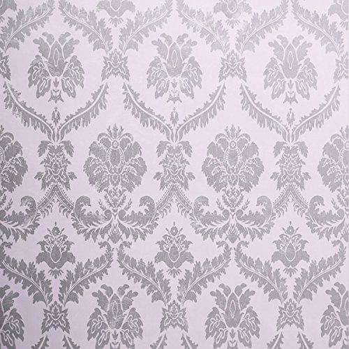 WaaHome Tapete Selbstklebend Damast Grau Tapeten Wandtapete Für Zu Hause Schlafzimmer Wand Dekoration 32.8ft X 17.7inches