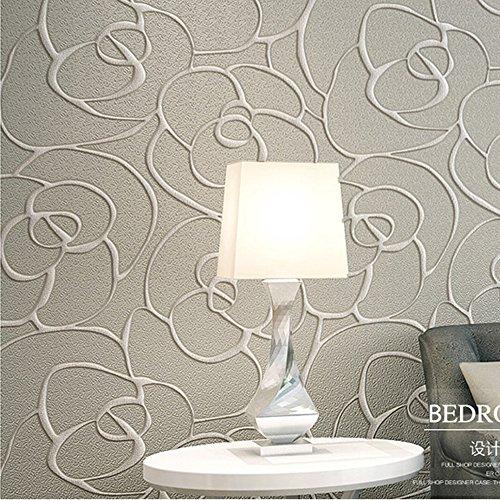 Ketian, rullo di carta da parati moderna, minimalista, con rosa 3d, in tessuto non tessuto a rilievo, per soggiorno, camera da letto, 0,53 x 10 m(l x l)= 5,3m2, cream&gray, 0.53m (1.73' w) x 10m(32.8'l)=5.3m2 (57 sq.ft)