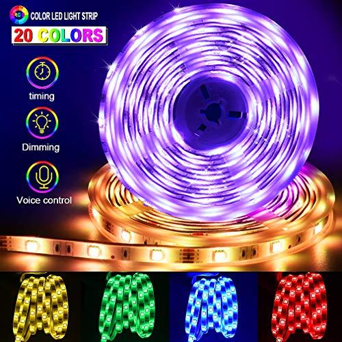 LED Ruban [Version Avancés] Reactive Musique 10M 5050 RGB+W Bande Lumineuse Multicolore avec 6500K Lumière Blanche Kit, ESEYE 300 LEDs TV Bandeau Étanche Flexible Éclairage Réglable Couleurs Néon