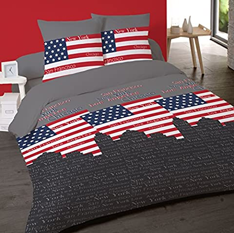 Housse de couette USA CITIES 240 x 220 +2 Taies