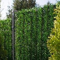 FairyTrees Cubierta de la Valla Terraza, GreenFences Verde Oscuro, PVC Sintético Siempre Verde Altura 80 cm, 5 m
