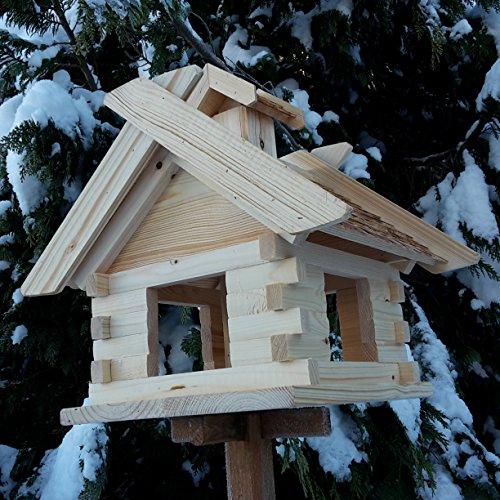 Großes XXL Vogelhaus Schreinerarbeit Futterhaus Vogelhäuschen — Wetterschutz lasiert — Blockhaus Holz Vogelhäuser (Natur) - 3