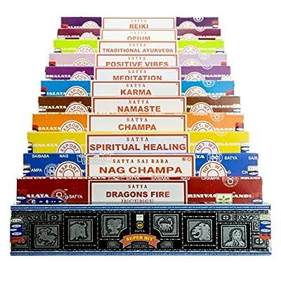 Genuine SATYA SAI BABA - NAG CHAMPA VARIETY MIX GIFT SET B 12 X 15G BOXES OF INCENSE, INCLUDES NAG CHAMPA, SUPER HIT, POSITIVE VIBES, NAMASTE, CHAMPA, OPIUM, REIKI, SPIRITUAL HEALING, DRAGONS FIRE, KARMA, MEDITATION, TRADITIONAL AYURVEDA