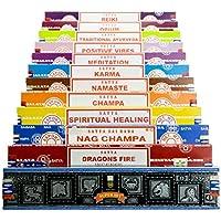 Genuine Nag Champa di Satya Sai Baba–Varietà Mix Set B 12x 15g Scatole Regalo di incenso, include, Nag Champa Super Hit, Positive Vibes, Namaste, Champa, meditazione, Reiki, guarigione spirituale, Drago di Fuoco, oppio, Karma, tradizionale