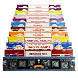 véritable Satya Sai Baba - Nag Champa variété MIX Coffret cadeau B 12 x 15 g boîtes de Comprend, d'encens, Nag Champa Super Hit, Vibes positives, Namaste, CHAMPA, Opium, Reiki, Guérison spirituel, dragons Fire, Karma, méditation, Ayurveda traditionnel