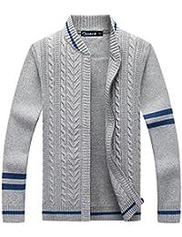 Zicac Männer warme Futter Strickjacke Pullover mit Reißverschluss Stehkragen Casual Mantel für junge Männer