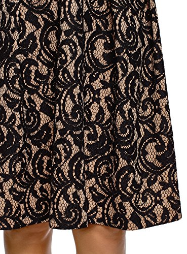 oodji Collection Damen Spitzenrock mit Dekorativem Gummiband Beige (3529L)