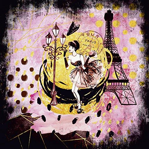 Artland Qualitätsbilder I Wandtattoo Wandsticker Wandaufkleber 30 x 30 cm Städte Paris Illustration Pink Rosa C7QU Pink Gold Shopping Girl Paris Eiffelturm