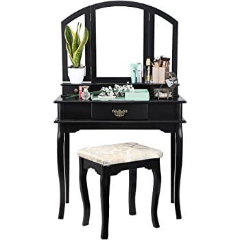 leogreen coiffeuse meuble pour se maquiller 1 tiroir 1 miroir rectangulaire noir materiau. Black Bedroom Furniture Sets. Home Design Ideas