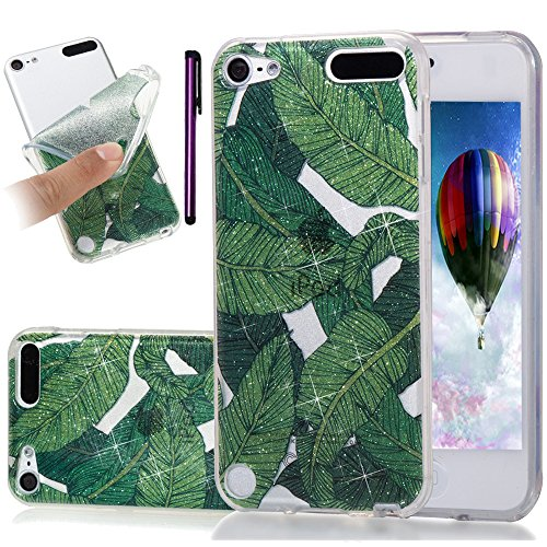 iPod Touch 5. Fall, iPod Touch 6 Fall leecoco Bling Glitzer Sparkle Kristall Blumenmuster Transparent Slim Soft Bumper TPU Silikon Schutzhülle Cover für Ipod Touch 5./6, Glitter Banana Leaves (Ipod Touch Elefanten-fall)