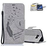 Aeeque Gris Etui Galaxy S7, Mode Plume Motif Shock de Absorption Housse Coque...