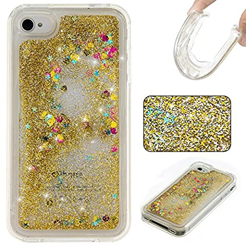 Coque iPhone 4S , Glitter Liquide TPU Etui Coque pour Apple 4S ,CaseLover Amour Motif Mode Etui Coque Dynamic Etoiles Paillettes Sable TPU Slim pour Apple iPhone 4S Mode Flexible Souple Soft Case Couverture Housse Protection Anti Rayures Mince Transparent Silicone Strass Mouvant Cover - Or