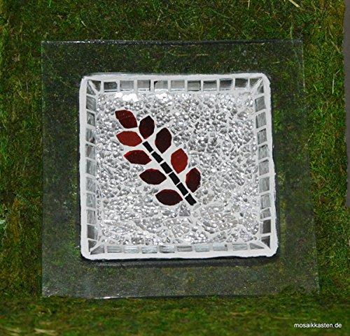 Handgemachte Glasplatte roter Zweig 20 cm -