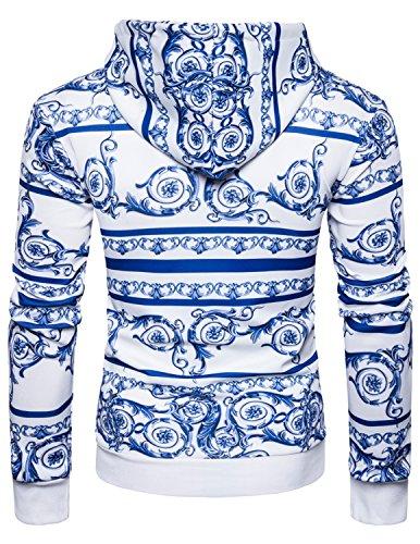 Boom Fashion Herren Kapuzenpullover Langarm Hoodie Dicker Sweatjacke und Kapuze 3D-Porzellan-Druck Weiß 1