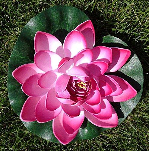 Wasserlilie Schwimmend Lotusblüte Lotusblume Seerose 22 cm groß künstliche Blumen sehr original wie echt Deko Teichrose (Dunkel Rosa)