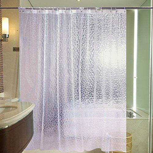 Anpatio Duschvorhang 180cm × 200cm Weiß 3D Wasserwürfel Halb Transparent Anti-Schimmel Badvorhang Wasserdichte Eva Vorhang mit 12 Ringe für Badwanne Badezimmer