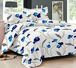 Ahmedabad Cotton Comfort 160 TC Cotton Single Bedsheet with Pillow Cover - White and Blue