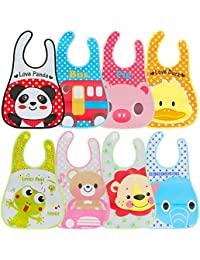 Lictin Baby Bib Set of 8 Waterproof Unisex Baby Bib EVA Baby Bandana Drool Baby Bib Apron Baby Drool Bibs for Infant Toddler 6 Months to 6 Years Old(M)