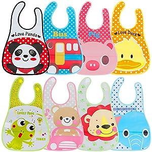 productos bebes: Lictin 8 Unisexos Baberos Impermeable EVA para Bebé con Dibujos Animados para Ni...
