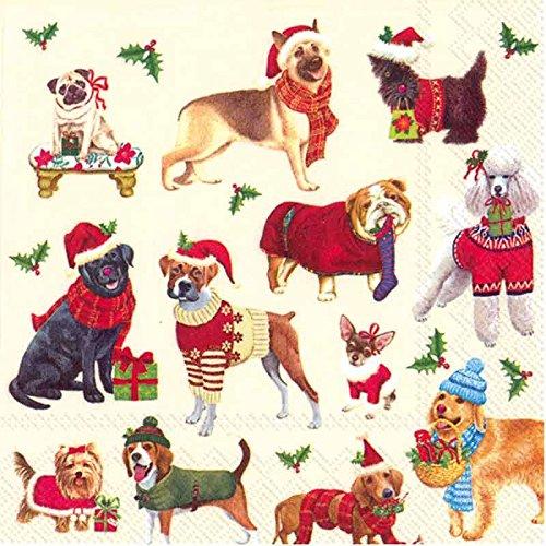 Ideal Home Range 20Zählen Cocktail Papier Servietten, Weihnachten Hunde