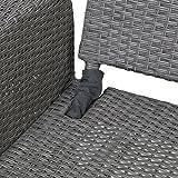 greemotion Rattan-Lounge Bali, Sofa & Bett aus Polyrattan, indoor & outdoor, 2er Garten-Sofa inkl. Kissen & Auflagen, Daybed mit Stahl-Gestell, grau - 10