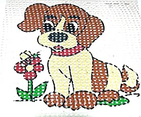 Easy Beginner and Starter Cute Doggy Poster Cross Stitch Kit
