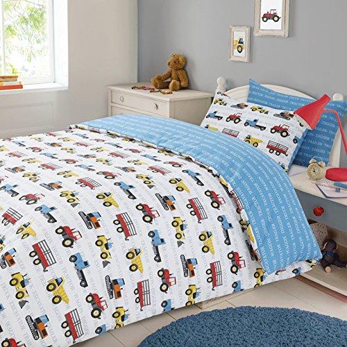 Dreamscene Transport Duvet Cover with Pillow Case Boys Kids Workforce Car Truck Bedding Set - Blue, Single