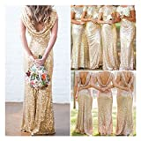 Bridal Mermaid Gold Sequin Bridesmaid Dress Stretchy Backless Wedding Party Gown (M, Gold)