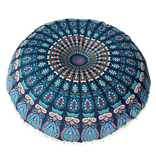 Vovotrade Große Mandala Boden Kissen Runde böhmische Meditation Kissenbezug Ottoman Pouf (Blau)
