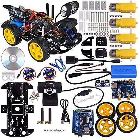 Kuman SM3 Wi-Fi Robot Kit de coche para Arduino, 4 cilindro de Utility vehículo inteligente Robotics Arduino Robot DS wifi cámara HD inalámbrico Kit de coche Robot Smart 7,4