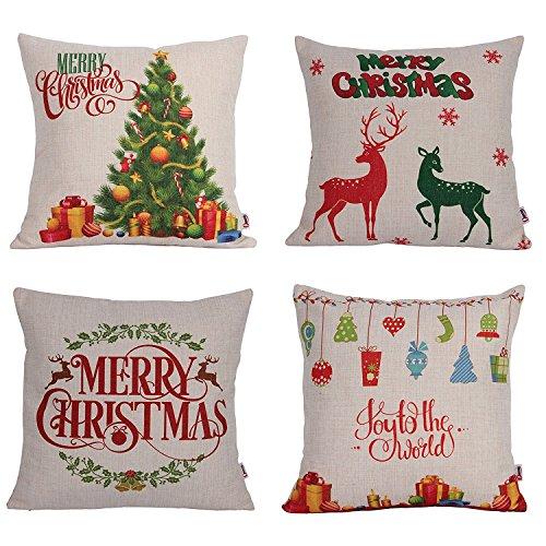 Queenie-2PCS Christmas Serie Baumwolle/Leinen Dekorative Kissenbezüge Kissenbezug für Sofa Überwurf Kissen Fall, baumwolle, Bundle Set A of 4, 45,7 cm 4 Bundle-fall