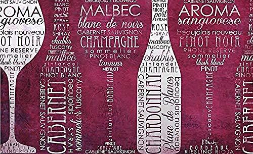 Fond D'Écran Papier Peint 3D Peintures Murales Alphabet Anglais Bouteille De Vin Verres À Vin Rétro Mode Salon Chambre Tv Fond Décoration Murale Art-250x175cm