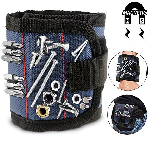 WisFox Magnetische Armbänder mit 10 leistungsstarken Magneten Magnet Armbänder verstellbares Klettband für Holding Werkzeuge, Schrauben, Nägel, Schrauben, Dübel, Bohrungen, kleine Werkzeuge, Schrauben (Sein Und Ihrs Magnetische Armband)