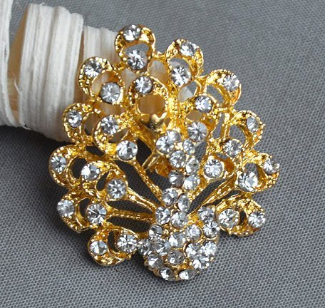 5 Rhinestone Button Embellishment Gold Peacock Crystal Wedding Brooch Bouquet Invitation Cake Hair Comb Shoe Clip BT536 by Your Perfect Gifts