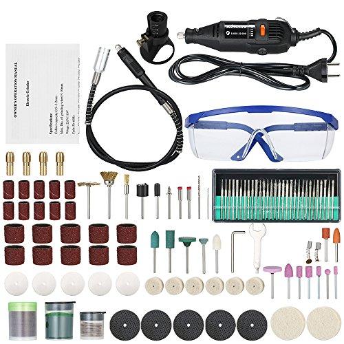 KKmoon Multifunktionaler Profi Elektroschleifer Set, 5-Gang Bohrmaschine mit Variabler Drehzahl, Drehwerkzeug mit 160pcs Zubehör für Fräsen Polieren Bohren Gravieren AC220V